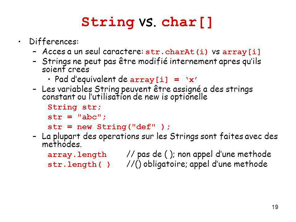 String vs. char[] Differences: